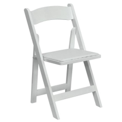 Where to rent CHAIR, WHITE GARDEN W PAD RESIN in Mount Pleasant MI