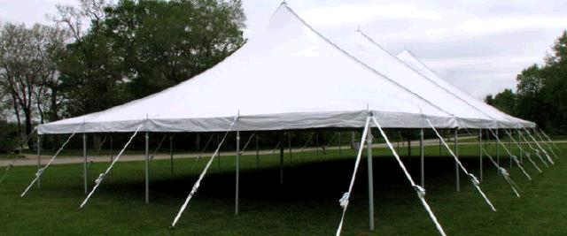 40 Foot Wide Sparkling White Pole Tents Rentals Mount